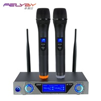 FELYBY Dual Wireless Microphone TV DVD Karaoke Microphone Professional Microphone For Computer Or Speaker Condenser Microphone