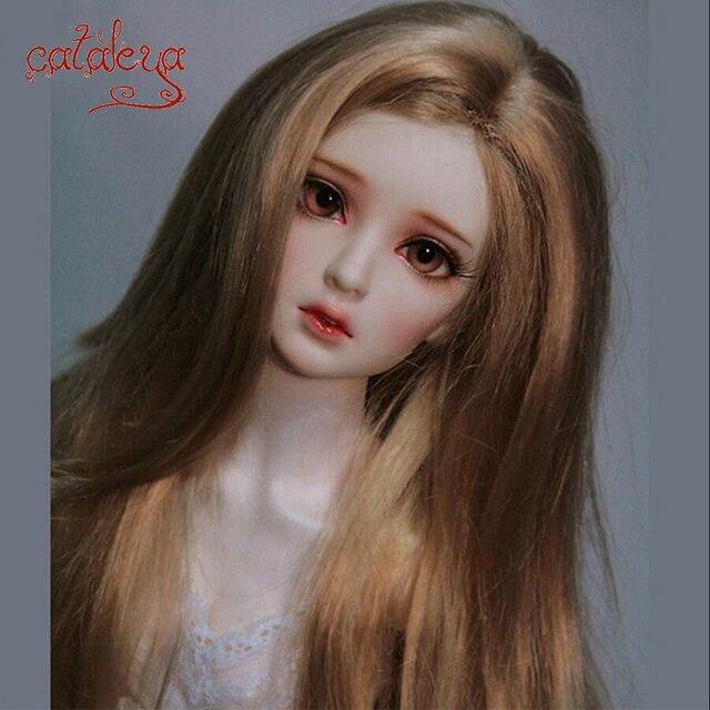 Cateleya marrón pelo largo y rizado de alta temperatura de fibra 1/3, 1/4, 1/6, 1/8 BJD pelucas para muñecas accesorios de la muñeca