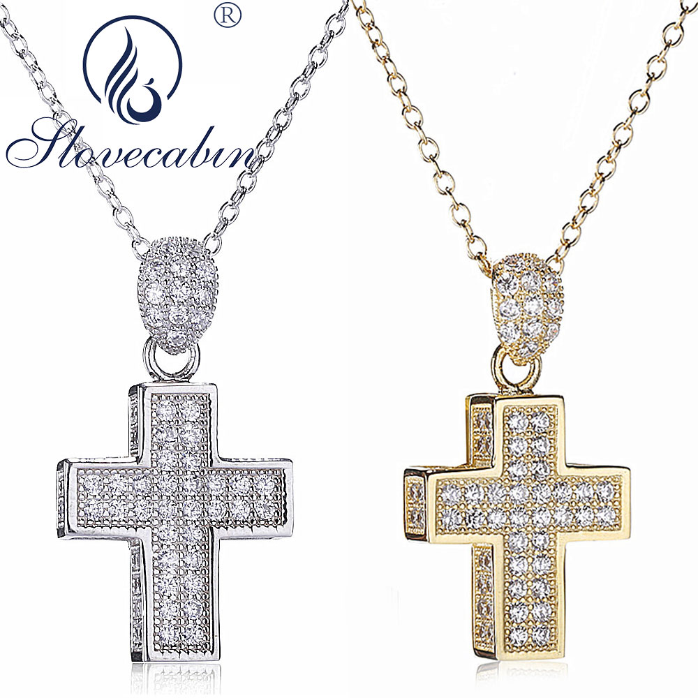 04f41d366563 Slovecabin Real 925 Plata de Ley Cruz colgante gargantilla collares para  mujer collar largo Bijoux ...