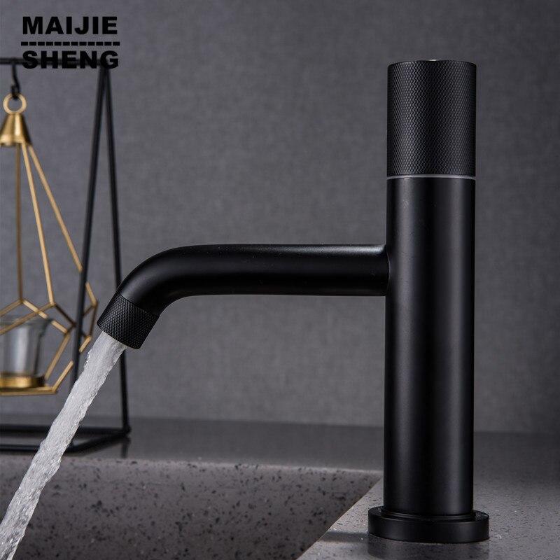 Monotrou noir mat bassin robinet salle de bain chaud et froid mélangeur évier robinet d'eau noir robinet salle de bain