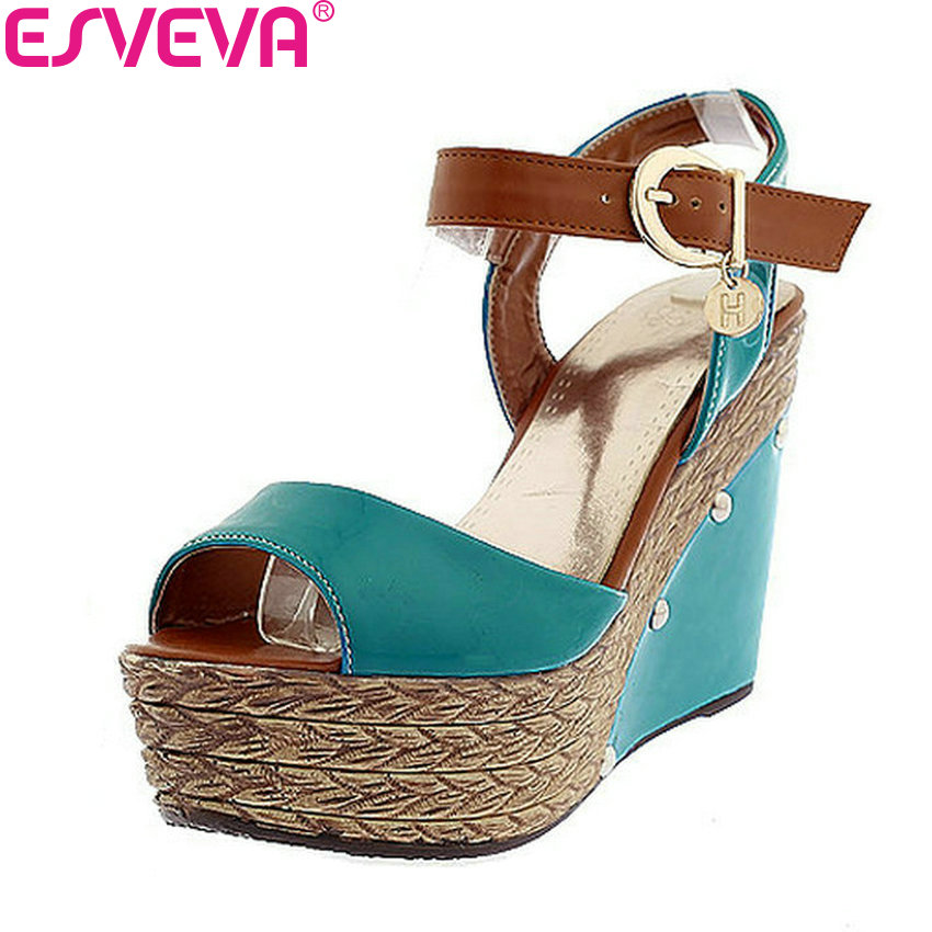 ESVEVA 2018 Women Sandals PU Leather Wedges Mixed Color Casual Sandals Summer Platform 4cm High Heels Shoes Women Size 34-39 morazora low price high quality cow suede nubuck leather women sandals flat casual summer wedges ladies mixed color beach shoes