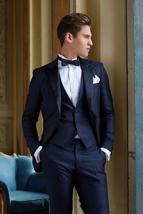 Navy Blue Wedding Tuxedos Slim Fit Suits For Men Jacket Vest And Pants Groom Men Suit Three ...
