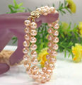 Free Shipping >>>>>Hot new 2 row AA 7-8mm pink freshwater pearl bracelet 7.5''