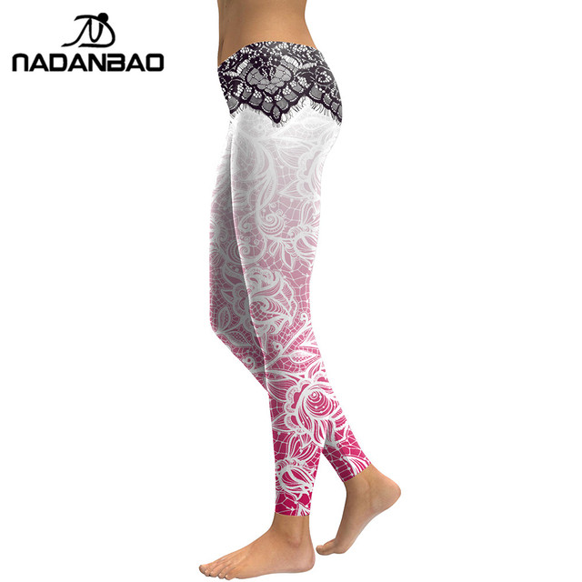 NADANBAO Women Leggings Mandala Flower 3D Digital Printing Slim Pink Fitness Woman leggins Pencil Pants