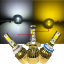 YHKOMS H4 LED Car LED Headlight H7 H8 H9 H11 H1 H3 H27 880 881 HB3 9005 HB4 9006 9012 Dual Double Color LED Light 3000K 6000K(China)
