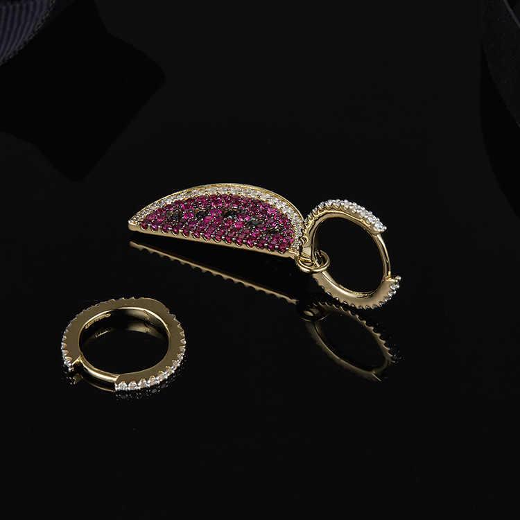 תוספות-APM פבואר ניו זהב אסימטרית עגיל נשי אבטיח פירות Earpendant עיצוב אוזן נייל