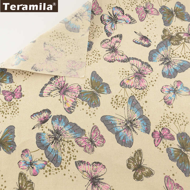 Butty Butterflies TERAMILA Cotton Linen Fabric Sewing Material Tissu Tablecloth Pillow Bag Curtain Cushion Pillow Home Textile