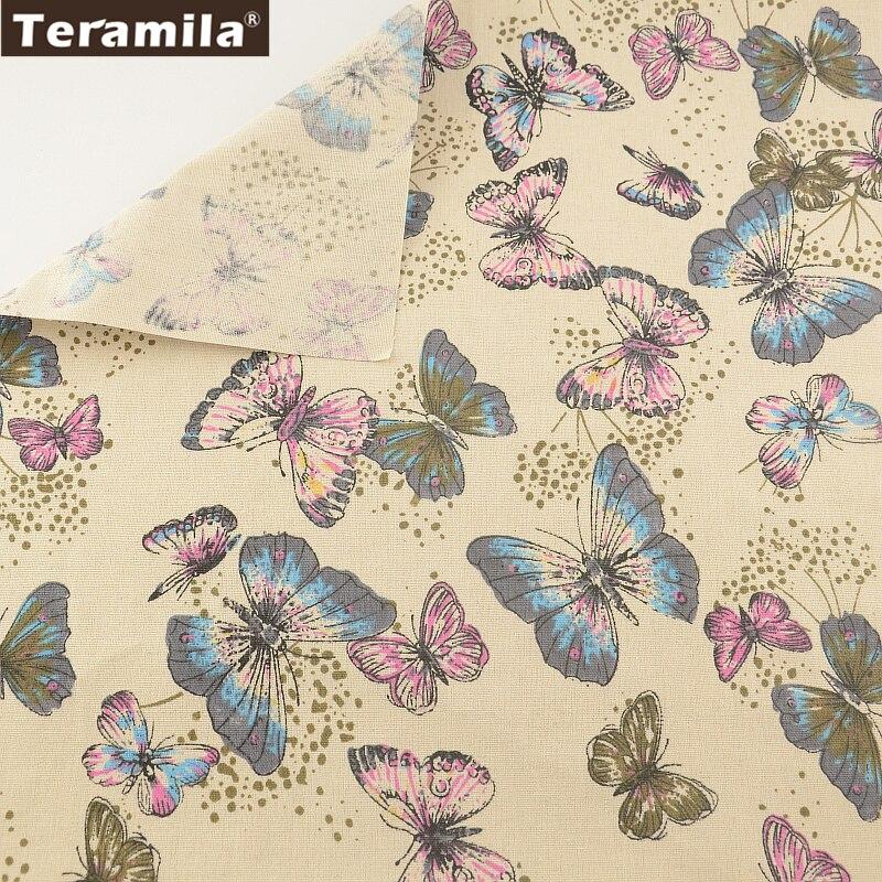 Butty Butterflies TERAMILA Cotton Linen Fabric Sewing Material Tissu Tablecloth Pillow Bag Curtain Cushion Pillow Home Textile