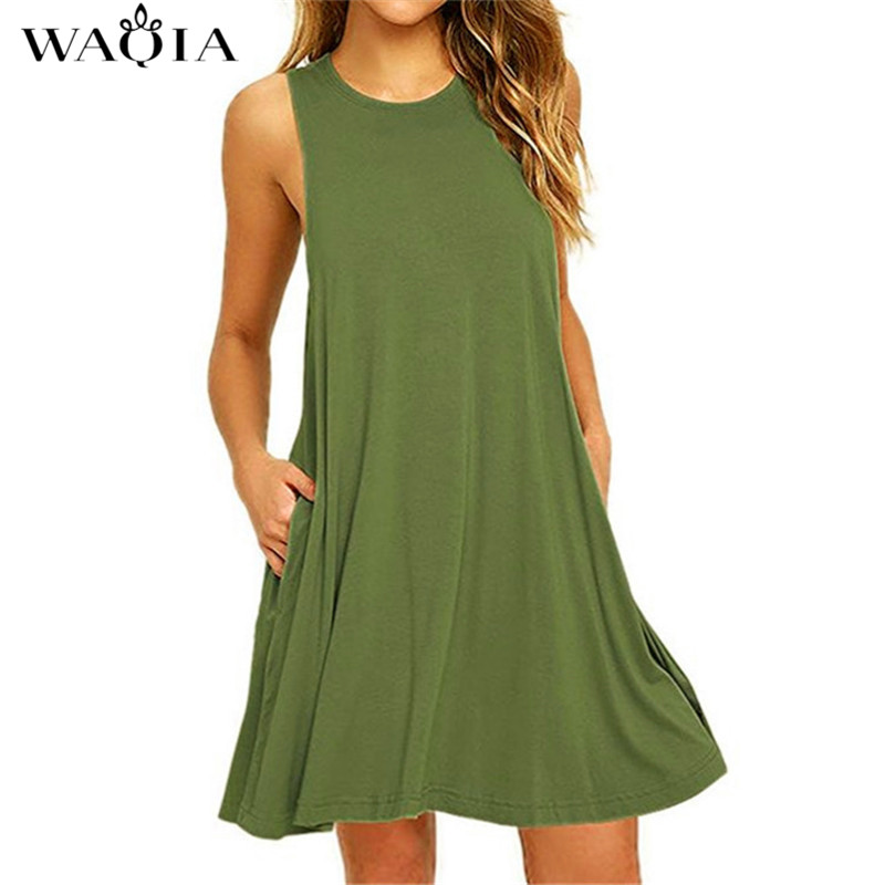 WAQIA 2018 Summer Dress Women Plus Szie Dress Sleeveless Boho Style Short Beach Dress Sundress Casual Shift Dresses Vestidos