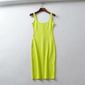 Image 4 - Vestido bodycon neon verde e branco, vestido verão 2020, vestido midi, preto, amarelo, praia, vestidos casuais