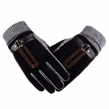 Winter Keep Warm Men Male Comfortable font b Gloves b font Outdoor Skiing Motorcycle Leather Cotton