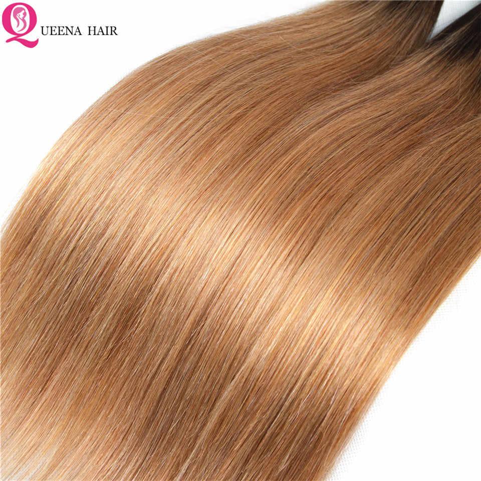 Queena Ombre blond wiązki z Frontal zamknięcie 1B/27 pasma prostych włosów z Frontal naturalne włosy hinduskie wiązki z Frontal