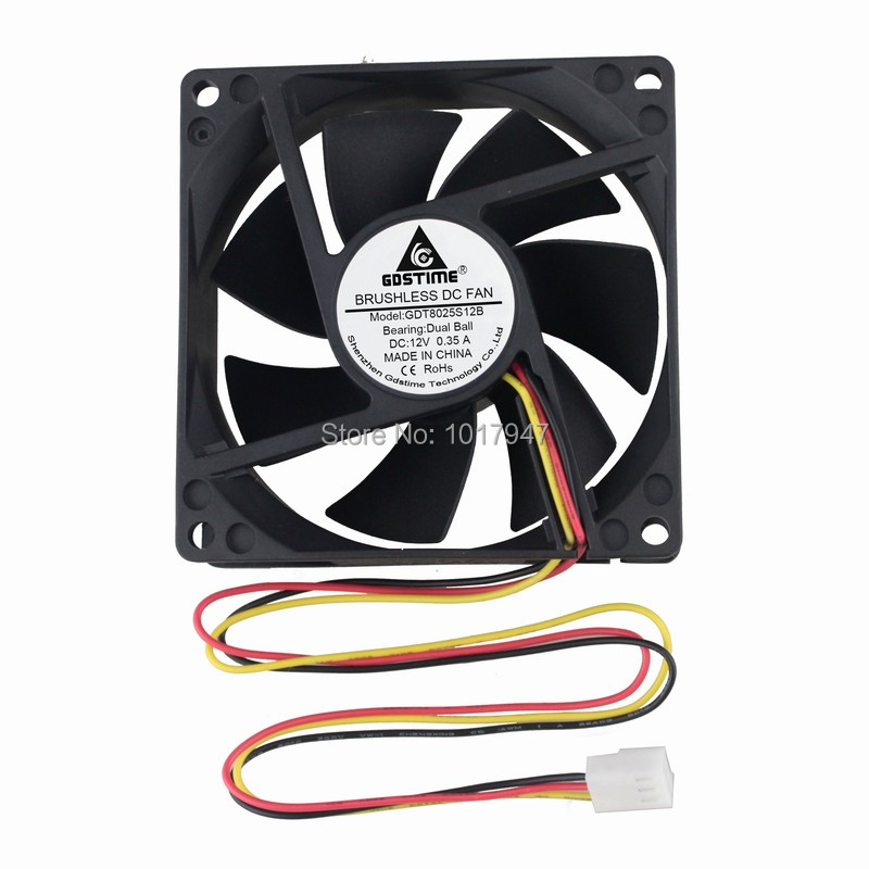 2 Pieces LOT Gdstime DC 12V 3Pin 8cm 8025 80mm 80x80x25mm Ball Type Cooling Cooler Motor Fan