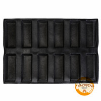 12 Molds Rectangle Bread Baking Mold Ventilated Perforated Baking Mold Silicone Baguette Tray Non Stick Bread