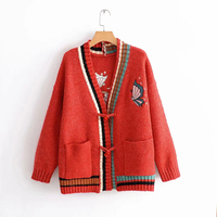 2018 New Autumn Women Gray Red Sweater Stitching Knit Thick Cardigans Female Embroidery Warm Cute Print Outwear sueter mujer