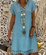 купить Plus Size Women V Neck Short Sleeve A Line Short Dresses Summer Casual Hollow T Shirt Dress Loose Bohemian Knee Length Dress 5XL по цене 790.66 рублей