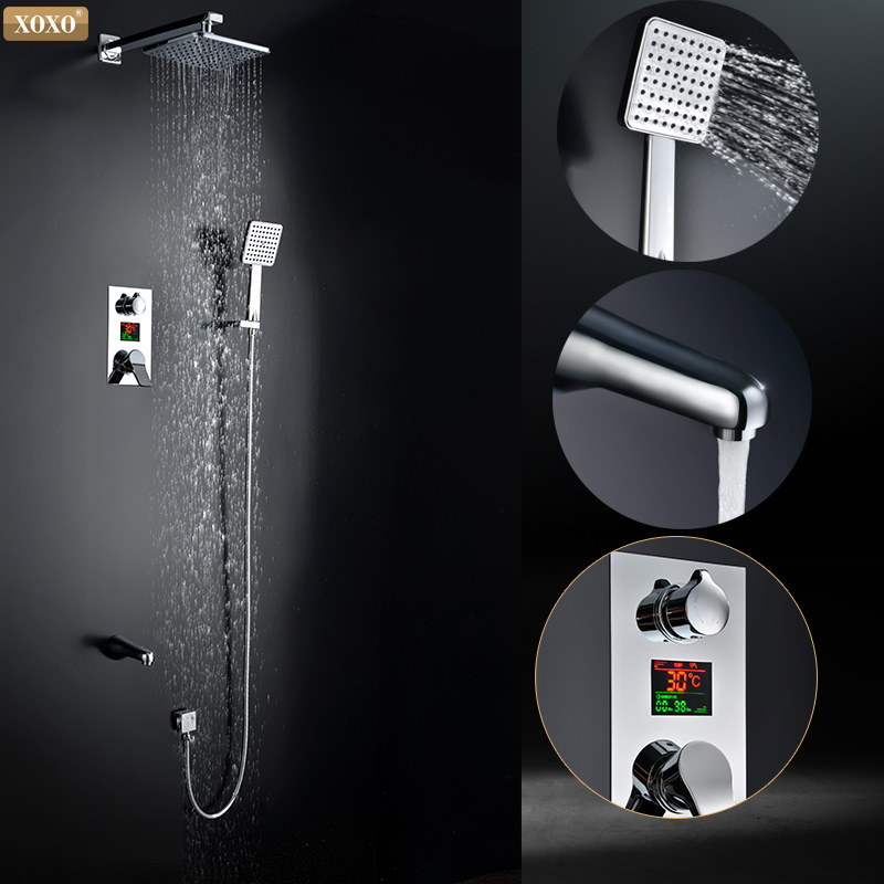 XOXO  Shower faucet Digital inwall shower mixing valve faucet mixer tap with lcd screen X88040-1 copper shower room mixing valve shower cabin mixer faucet 2 3 4 5 way water out shower room mixing valve