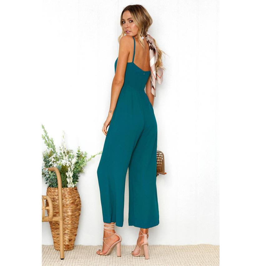 Office Lady Elegant Jumpsuit Women Straps Zipper Playsuit Trousers Sexy Sleeveless Summer Style Long Solid Rompers Jumpsuits #JO