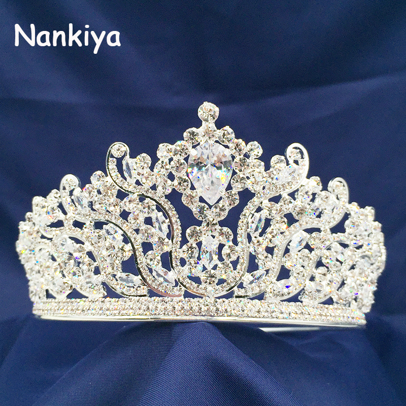 Nankiya Luxury Wedding Bridal Copper Crown Baroque Styles High Quality Crystal Zirconia Tiara Queen Crown Party