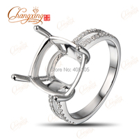 14k White Gold 11x11mm Cushion Cut Natural 0 21ct Natural Diamond Ring Mounting Jewelry