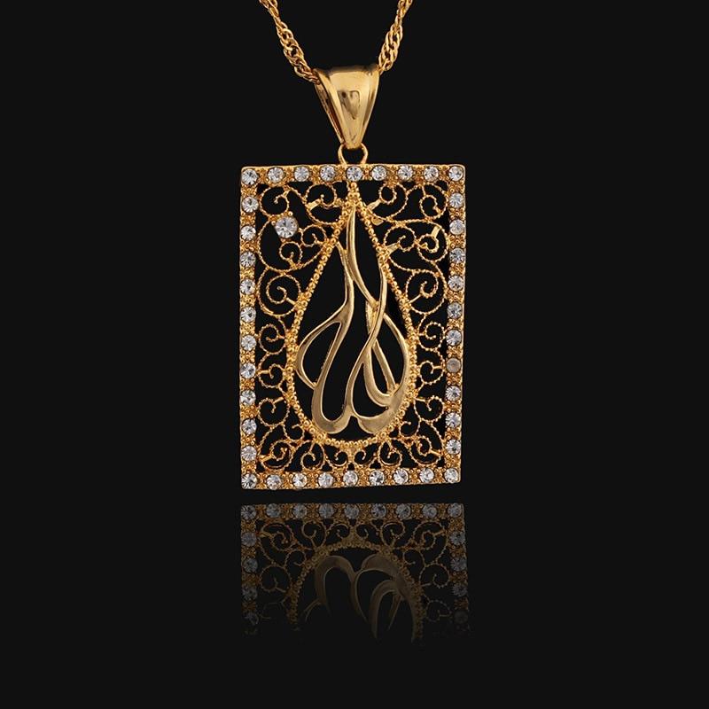 JH márka arany színű Allah nyaklánc medálok cirkon muszlim - Divatékszer