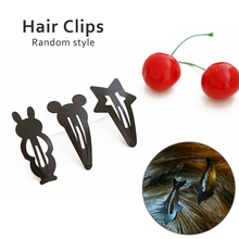 Hairpin Hair Side-knotted Maker Tools  Clip Mini Small Children Barrettes 2 Pcs/lot Black Paint Cartoon Side