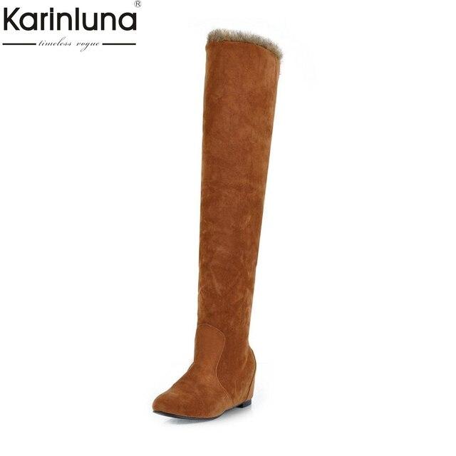 c45116b99 Karinluna 2018 Tamanho Grande 34-43 Aumentando Saltos Rebanho Sapatos  Elegantes Mulher Botas Cinza Preto