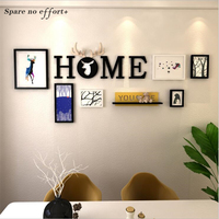6pcs With Shelf Nordic Style Picture Frame Living Room Creative Combination Photo Frame for Picture Wood Photo Wall Photo Frame