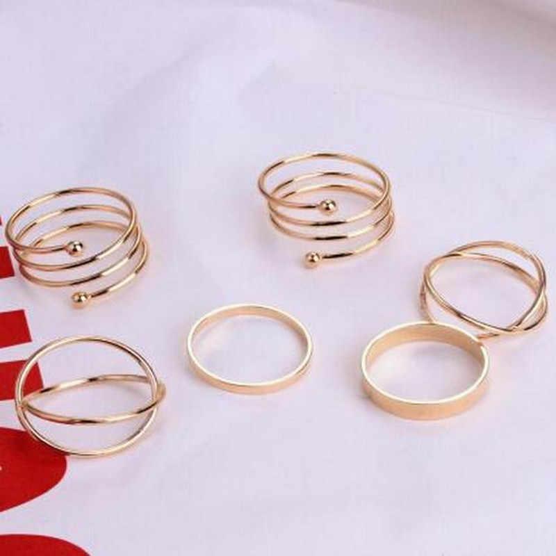 6PCS / set of gold crystal rhinestones Korean version of the ring set hypoallergenic cute chic style wedding dress unique elegan