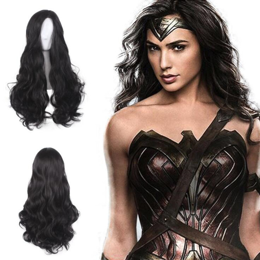 DC Movie Wonder Woman Cosplay Props Wig Wigs Cap Black Long Curly hair avenger union 2 thor wig men s long blonde cosplay curly hair wigs