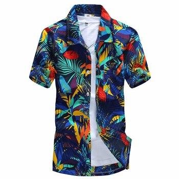 fe7583f023f 2016 Summer Hawaiian Shirt Men Casual Beach Slim Fashion Floral ...