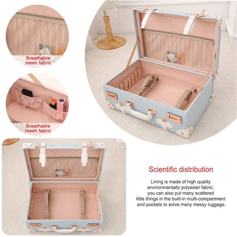 Barato Mini pequeña maleta de maquillaje bolso de cuero Pu niños lindos bolsos de viaje para niños equipaje de venta caja de belleza maleta Retro venta - 5