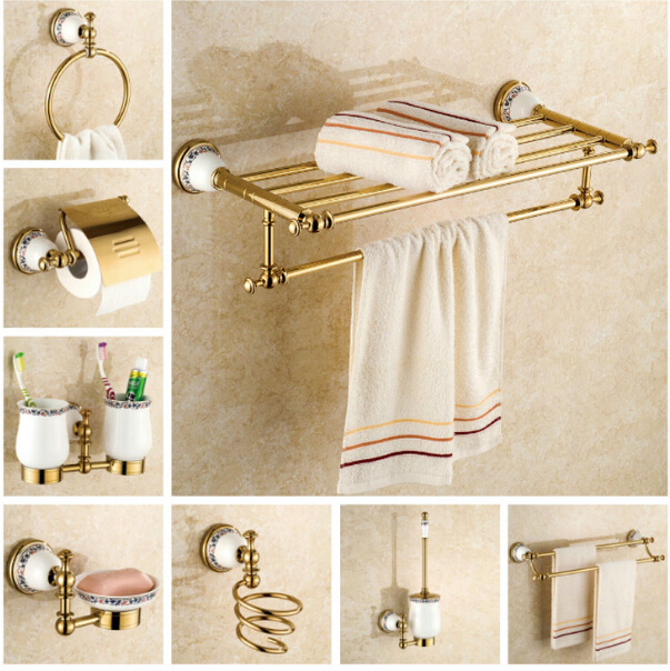 Copper Bathroom Accessories Set Gold Towel Bar Glass Shelf
