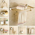 Copper bathroom accessories set gold towel bar glass shelf toilet brush holder papar holder wall mounted bath hardware set
