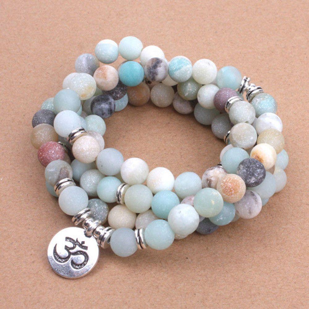 HTB17zokXs vK1RkSmRyq6xwupXaR - Fashion Women`s bracelet Matte Frosted Amazonite beads with Lotus OM Buddha Charm Yoga Bracelet 108 mala necklace
