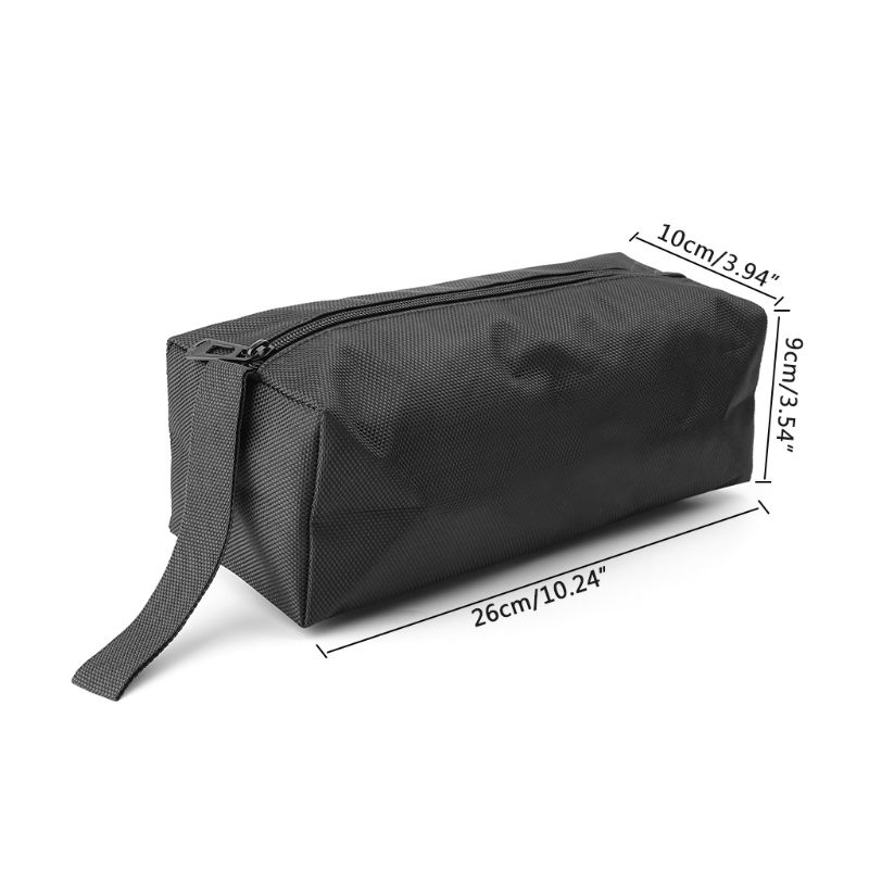 Black Oxford Canvas Tool Bag Zipper Hardware Storage Toolkit Travel Makeup Hand Pouch