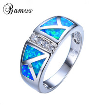 2016 New Easter Fashion Blue Fire Opal Ring White Gold Fille