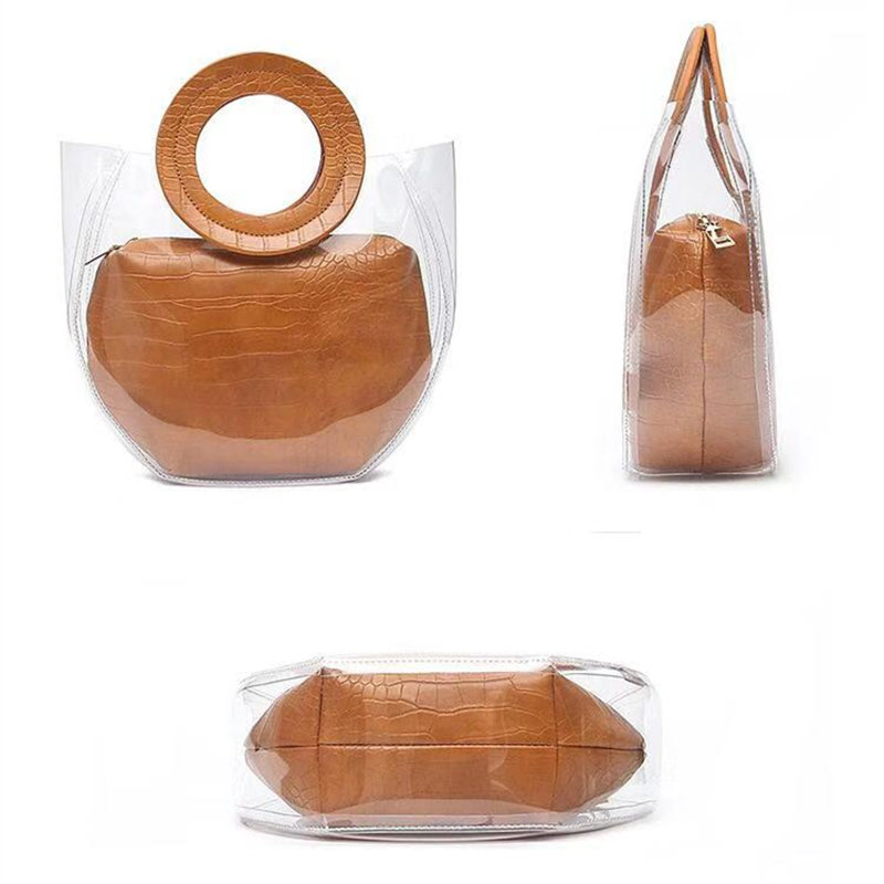 2019 Clear Transparent PVC Shoulder Bags Women Candy Color Women Jelly Bags Purse Solid Color Handbags sac a main femme handbag in Top Handle Bags from Luggage Bags