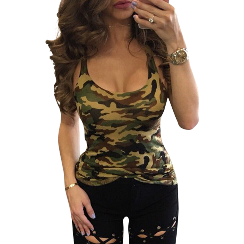 Women   Tank     Tops   Sexy Sleeveless   Tank   Camouflage Army Green Women Summer   Tops   Tee Shirt LJ8896m