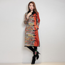 Women National Wind Embroidery Woolen Plus Thick Velvet Fur Collar Dress Chinese Style Slit Plate Buttons Original Design Loose