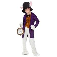 Роскошная детская одежда для костюмированной вечеринки с Белым Кроликом из фильма «Алиса в стране чудес»; Уникальные вечерние костюмы на Хэллоуин