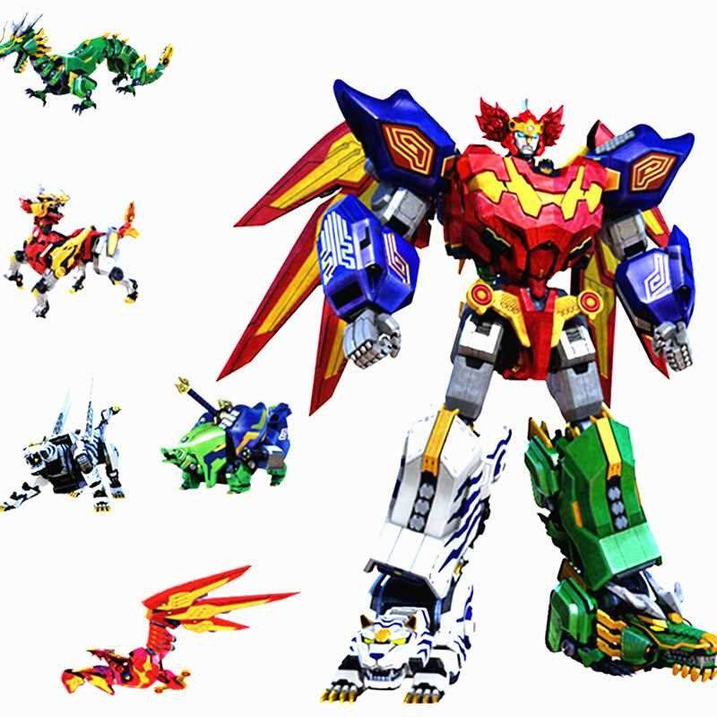 2019 New Children Toys Gifts 5 In 1 Assembly Dinozords Transformation Ranger Megazord Robot Action Figures Children Toys Gifts