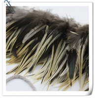 Wholesale 10 bundle natural Rooster feathers 4 6 Chicken Feather Strung Hackle Feather Trims for jewelry accessory diy crafts