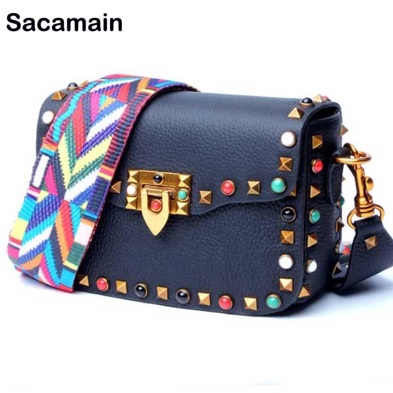 Sacamain Brand River Vintage Crossbody Bag Women Messenger Bag Soft Cow Genuine Leather Luxury Designer With Nice Wide Strap Bag