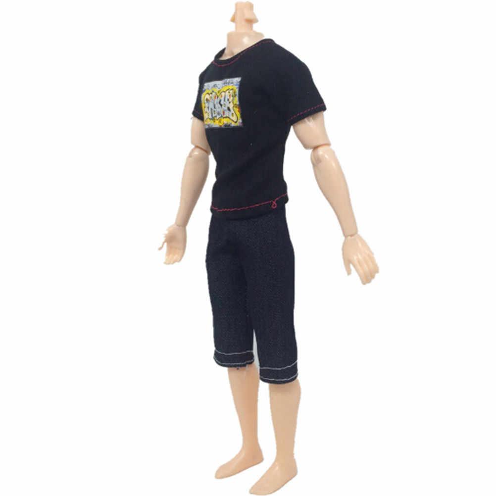 2 ピース/セットスーツ少年因果スーツケン · 人形服高さ 30 センチ人形アクセサリー服黒 Tシャツ & カプリパンツ