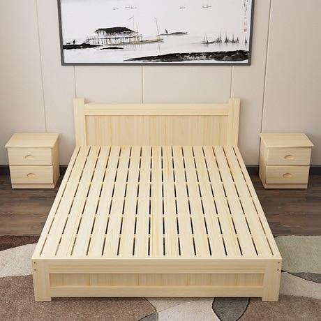 € 9794.62 11% de réduction|Lit à la maison meubles de chambre à coucher  meubles nordiques simples lit en bois massif moderne 1.5 m/1.8 m lit king  size ...
