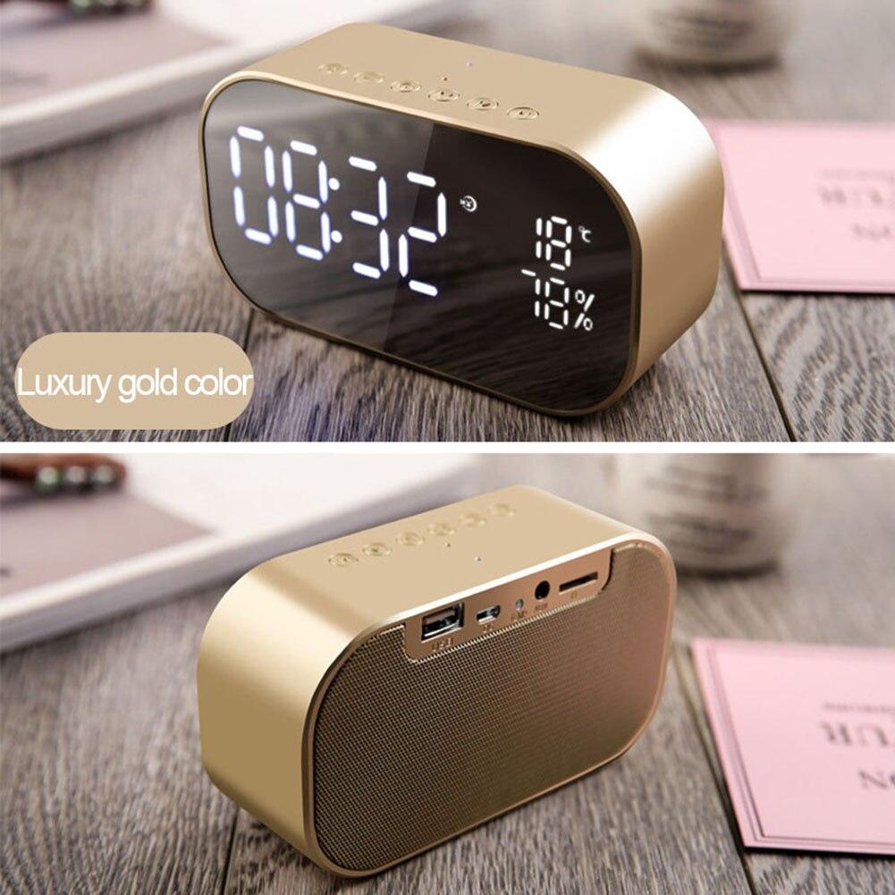Portable Wireless Bluetooth Speaker LED Alarm Clock Digital Display Modern Mirror Clock MYDING
