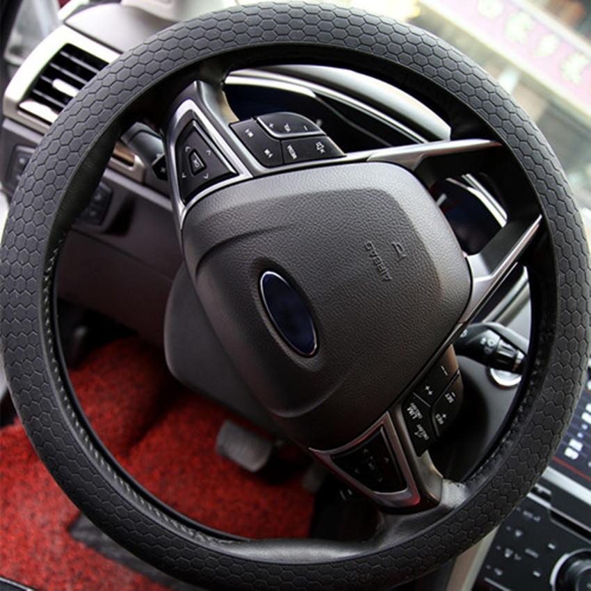 Car Cover 36-38cm Diameter Car Auto Silicone Steering Wheel Cover Soft Crocodile Texture Universal Auto Car Covers Accessories