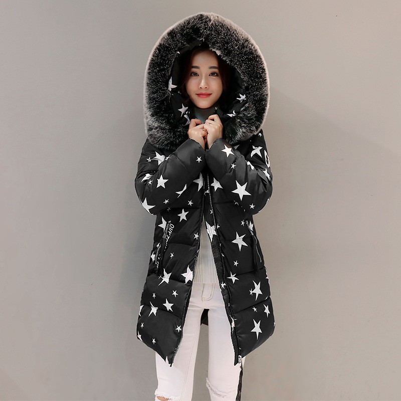 Winter Thick Fur Collar Medium-long Star Print Warm Women Jacket Large Size Padded Parka Hooded Cotton Female Overcoat TT3212 women winter coat jacket thick warm woman parkas medium long female overcoat fur collar hooded cotton padded coats
