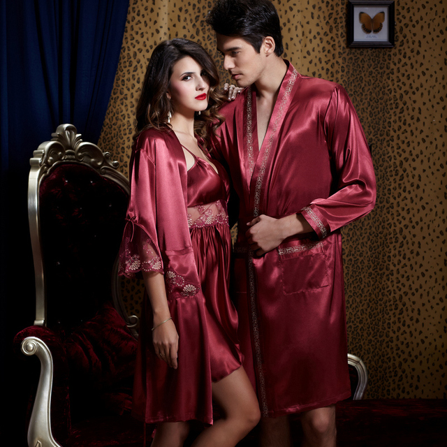 Free Shipping Real Couple Sleepwear Half Sleeve Solid Robe Sets Imitation Silk Robes Twinset Nightgowns Men Women 20542/20242
